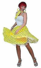 Ladies Rock N Roll 1950s Grease Fancy Dress Skirt Yellow Lady Costume UK 10 - 14