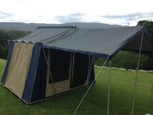 Oztrail Cabin 10 x 8 Tent - Blue/Beige