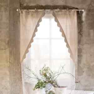 Set 2 Stück Gardine Vorhang beige Landhaus Shabby 60 x 120 Blanc Mariclo
