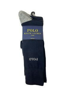 polo ralph lauren mens dress socks 3 Pack Navy Blue Crew Size 10-13 NEW