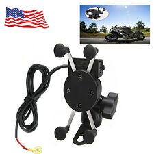 Universal Motorcycle  Cell Phone Mount Holder USB Charger GPS