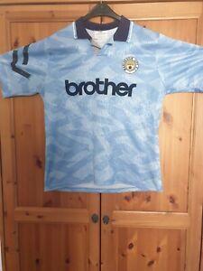 Manchester City Football Shirt Original Brother 1991-1993 Umbro Home Large Mens