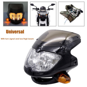 12V 35W Universal Motorcycle Front Headlamp Assembly w/Turn Signal Low/High Beam