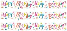 HAPPY BIRTHDAY GIRL PINK/ SILVER FOIL BANNERS (SE)