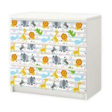 nikima - 015 Möbelfolie für IKEA MALM - Tiere Baby - 3 Schubladen Aufkleber Stic