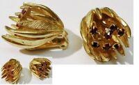 boucles d'oreilles clips bijou vintage fleur couleur or cristal rouge * 5290