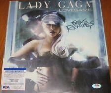 "LADY GAGA SIGNED LOVEGAME THE REMIXES 12"" VINYL LP PSA/DNA #17094 RARE!"