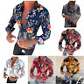 Printed Fashion New Tops Blouse Men's Casual Long Fit Flower T-Shirt Sleeve Slim