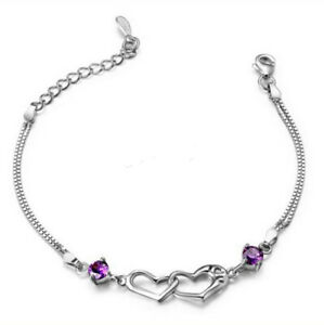 Fashion Women 925 Silver Fashion Charm Chain Cuff Bangle Bracelet Jewelry Gifts