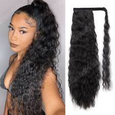 "22"" Long Wavy Afro Kinky Curly Clip In Ponytail Hair Extensions Synthetic Hair"