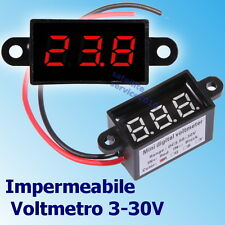 Impermeabile Voltmetro 3.5-30V DC Digitale Rosso LED Display da Panello Tester