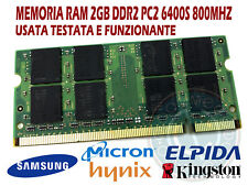 MEMORIA RAM MEMORY 2GB PC2 6400 S 800 MHZ DDR2 SO DIMM 200 PIN HP COMPAQ SONY