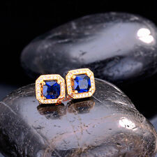 CZ Stud Earrings 18K yellow gold-filled 2ct princess cut halo square men women