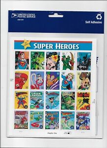DC Comics Super Heroes, Full Sheet of 20 x 39-Cent Postage Stamps, USA 2006,