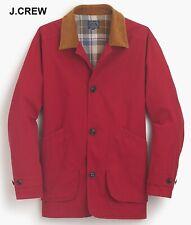 J.CREW barn jacket red corduroy collar vintage classic 1983 car coat long 3/4 XL