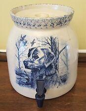 Vintage CROCK BEVERAGE DISPENSER Marshall Pottery Signed Bill Cole Hunting Dog
