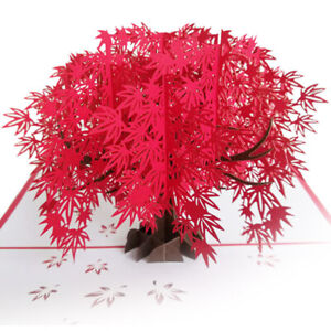 3D Pop up an Iconic Red Maple Tree Card Seasonal Greeting All occasions UK