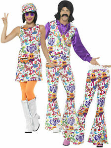 Mens Ladies 60s 70s Hippie Fancy Dress Adult Flares Groovy Hippy Couples Costume