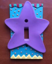 CHILDREN'S Toggle Light Switch COVER PLATE Star 3-D Purple & Green CERAMIC