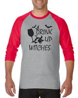 Raglan T-shirt 3/4 Sleeve Halloween Party Drink Up Witches