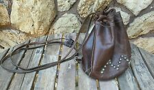 FORCE TEN WEST BROWN HANDMADE LEATHER CYNCH HOBO BACKPACK PURSE