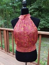 Vintage Laundry By Shelli Segal Halter Top Boho Chic Festival 100% Silk Sz.4
