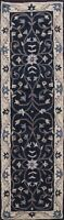 """Floral Traditional Oriental Runner Rug Hand-Tufted 2' 7""""x9' 10"""" Navy Blue Carpet"""