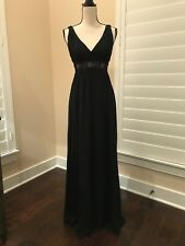 Aidan Mattox Black Silk Chiffon Formal Prom Gown Evening Dress Size 0