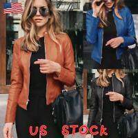 US Womens PU Leather Jacket Zipper Biker Jacket Ladies Blazer Coat Tops Outwear