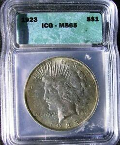 1923 $1 Peace Silver Dollar ICG MS65