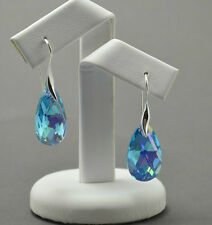 Silver Plated Hook 22mm Pear/Almond Earrings Crystals from Swarovski®