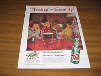 1953 Print Ad Seven-Up Soda Pop Bottles of 7UP & Family Party