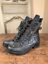 A.S 98 Free People Saintec Lace Up Studded Ankle Boots Green Size US 7.5 Euro 38