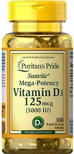 Puritan's Pride Mega-Potency Vitamin D3 5000 IU 100 Softgels (free shipping)