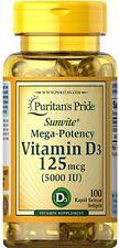 Puritans Pride Vitamin D3 5000 Iu X100 Rapid Release Softgels For Good Immunnity