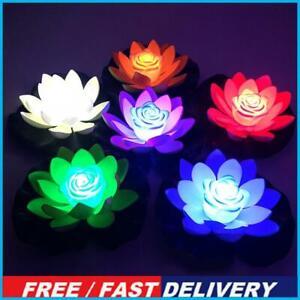 Floating Solar Powered LED Lotus Flower Light Pond Pool Garden Landscape Lamp
