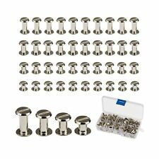 Chicago Screws,LANMOK 128 Sets 5mm Silver Chicago Buttons Assorted Kit Screwi...