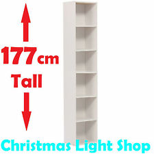 177cm WHITE Slim BOOKCASE Storage Cube Funky Display Shelf BOOKSHELF Tall Thin