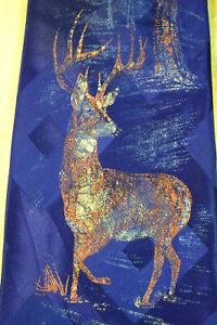 """VTG 30s 40s Hand Painted Buck Deer Necktie Art Deco Swing Jazz 47"""" x 4 1/8"""""""