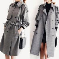 Women's Winter Warm Wool Lapel Trench Parka Coat Jacket Long Overcoat Outwear