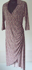 Laura Ashley - Stretch Jersey Style Floral L/Sleeved Collared Dress ~ size 14