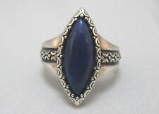 STERLING SILVER BLUE LAPIS MARQUISE RING WITH HALLMARK **