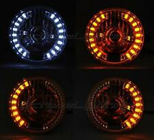 "7"" Projector White LED Angel Eye Drl Halo Amber Turn Signal H4 Bulb Headlight"