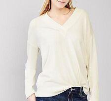 Sweater GAP Brooklyn V-neck New M long sleeve $ 55 Solid White Ivory Milk