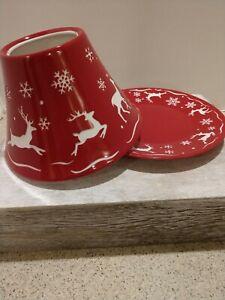 "Vintage Yankee Candle ""Reindeer"" Shade and Plate Set"