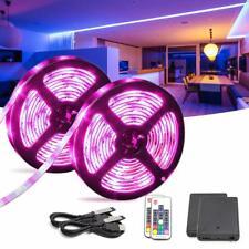 2x USB & Battery Powered 2 in 1 RGB LED Strip Lights 2m TV Backlight Set IP65