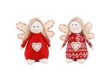 Cute Nordic Felt Hanging Beanbag Angels - Christmas Tree Decoration - Set of 2