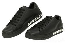 NEW PRADA LUXURY BLACK LEATHER CRYSTALS LACE-UP PLATFORM SNEAKERS SHOES 37.5/7.5