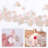 1 Yard Embroidered Leaf Floral Flower Tulle Lace Trim Sewing Wedding Dress DIY