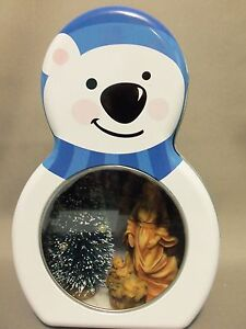 Dollhouse Miniature Angel and Baby Jesus scenario in a Snow Bear Tin (Blue)